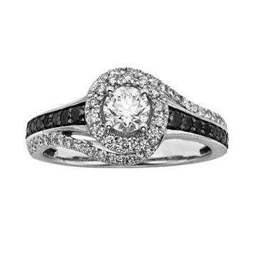 Round-Cut Black & White IGL Certified Diamond Halo Swirl Engagement Ring in 14k White Gold (1 ct. T.W.)