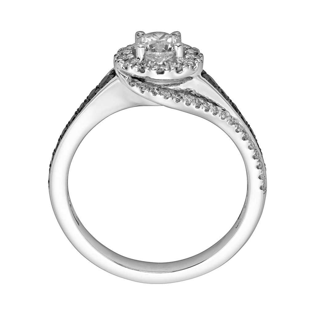Round-Cut Black and White IGL Certified Diamond Halo Swirl Engagement Ring in 14k White Gold (1 ct. T.W.)