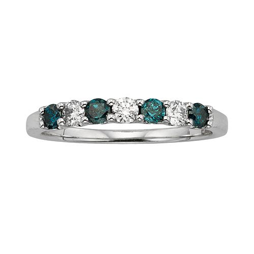 14k White Gold 1/2-ct. T.W. IGL Certified Blue & White Diamond Ring