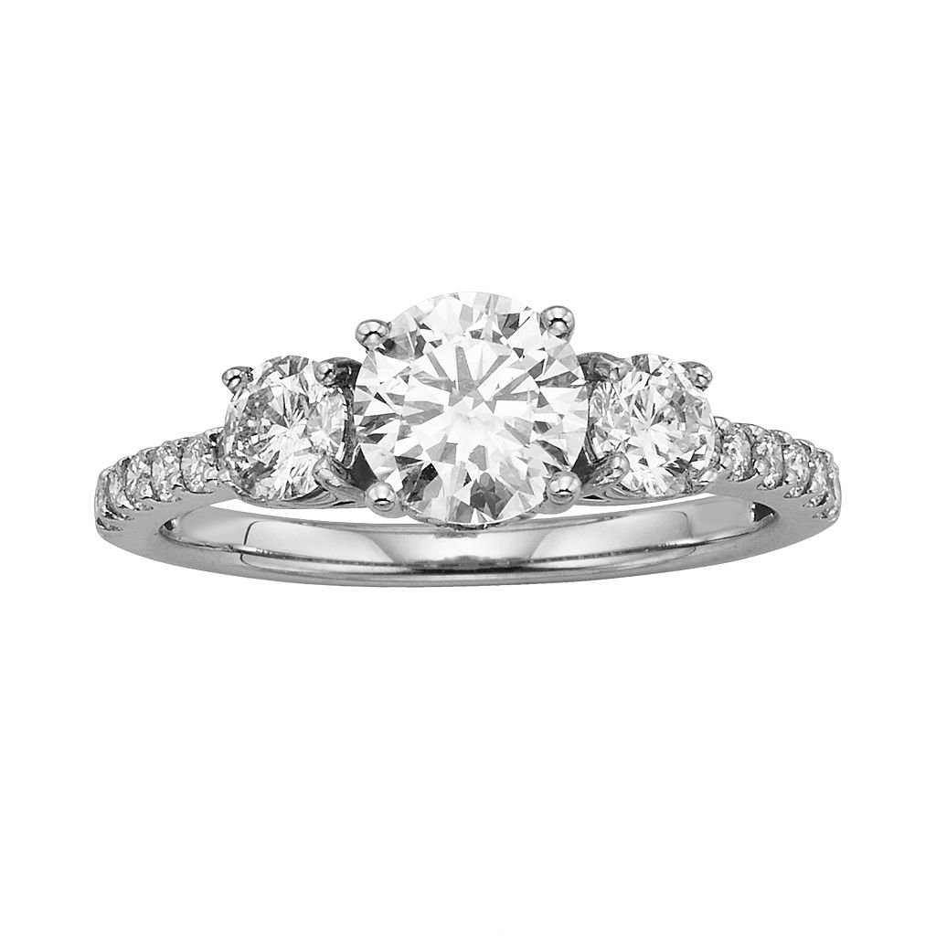 Round-Cut IGL Certified Colorless Diamond 3-Stone Engagement Ring in 18k White Gold (1 3/4 ct. T.W.)