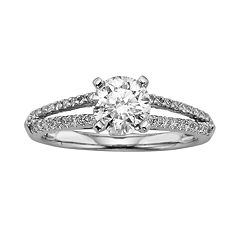 Round-Cut IGL Certified Colorless Diamond Engagement Ring in 18k White Gold (1 1/4 ctT.W.)