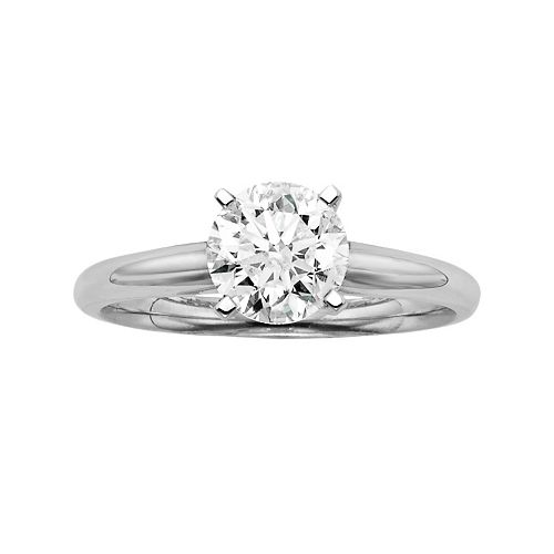 Round-Cut IGL Certified Colorless Diamond Solitaire Engagement Ring in 18k White Gold (1 1/2 ct. T.W.)