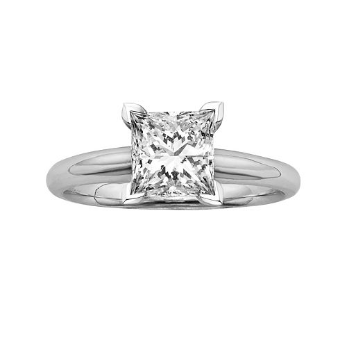 Princess-Cut IGL Certified Colorless Diamond Solitaire Engagement Ring in 18k White Gold (1 1/2 ct. T.W.)