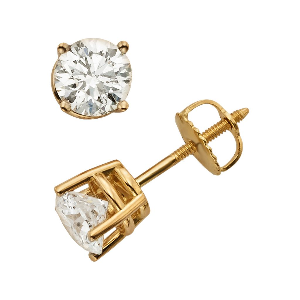 18k Gold 1 1/2-ct. T.W. Round-Cut Colorless Diamond Solitaire Earrings