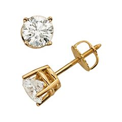 18k Gold 1 1/2 ctT.W. Round-Cut Colorless Diamond Solitaire Earrings