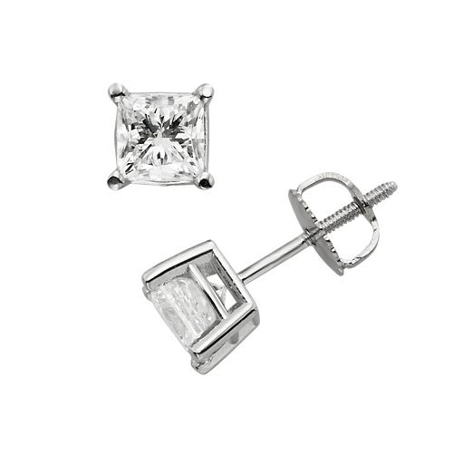 18k White Gold 1 1/2-ct. T.W. Princess-Cut Colorless Diamond Solitaire Earrings