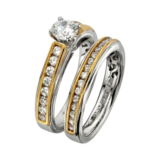 Round-Cut IGL Certified Diamond Engagement Ring Set in 14k Gold Two Tone (1 1/4 ct. T.W.)