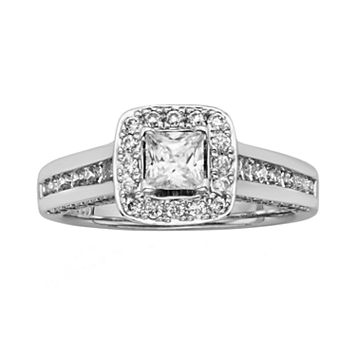 IGL Certified Diamond Halo Engagement Ring in 14k White Gold (1 1/2 ct. T.W.)