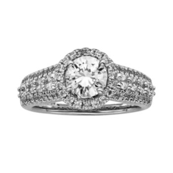 Round-Cut IGL Certified Diamond Halo Engagement Ring in 14k White Gold (2 ct. T.W.)