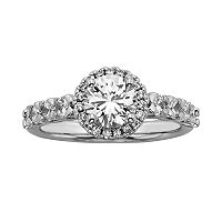 Round-Cut IGL Certified Diamond Halo Engagement Ring in 14k White Gold (1 3/4 ctT.W.)