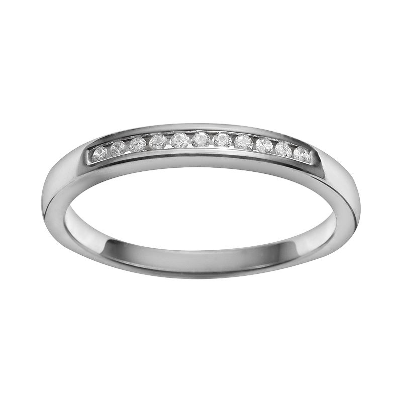 Diamond Essentials Platilite 1/10-ct. T.W. Diamond Ring (White)