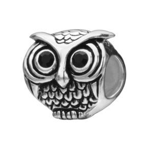 Individuality Beads Sterling Silver Crystal Owl Bead