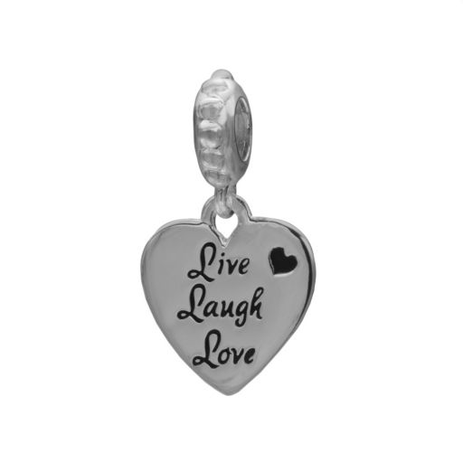 Individuality Beads Sterling Silver Live Laugh Love Heart Charm