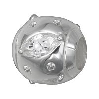 Individuality Beads Sterling Silver Cubic Zirconia Spacer Bead