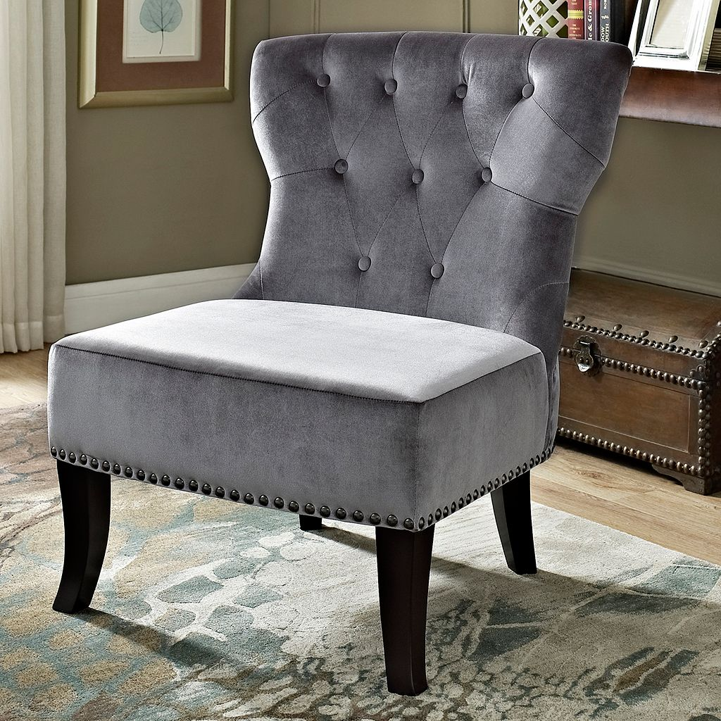 Simpli Home Kitchener Velour Accent Chair