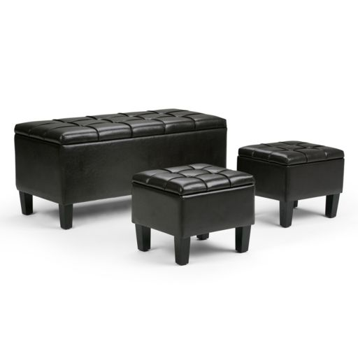 Simpli Home Dover 3-pc. Storage Ottoman Set