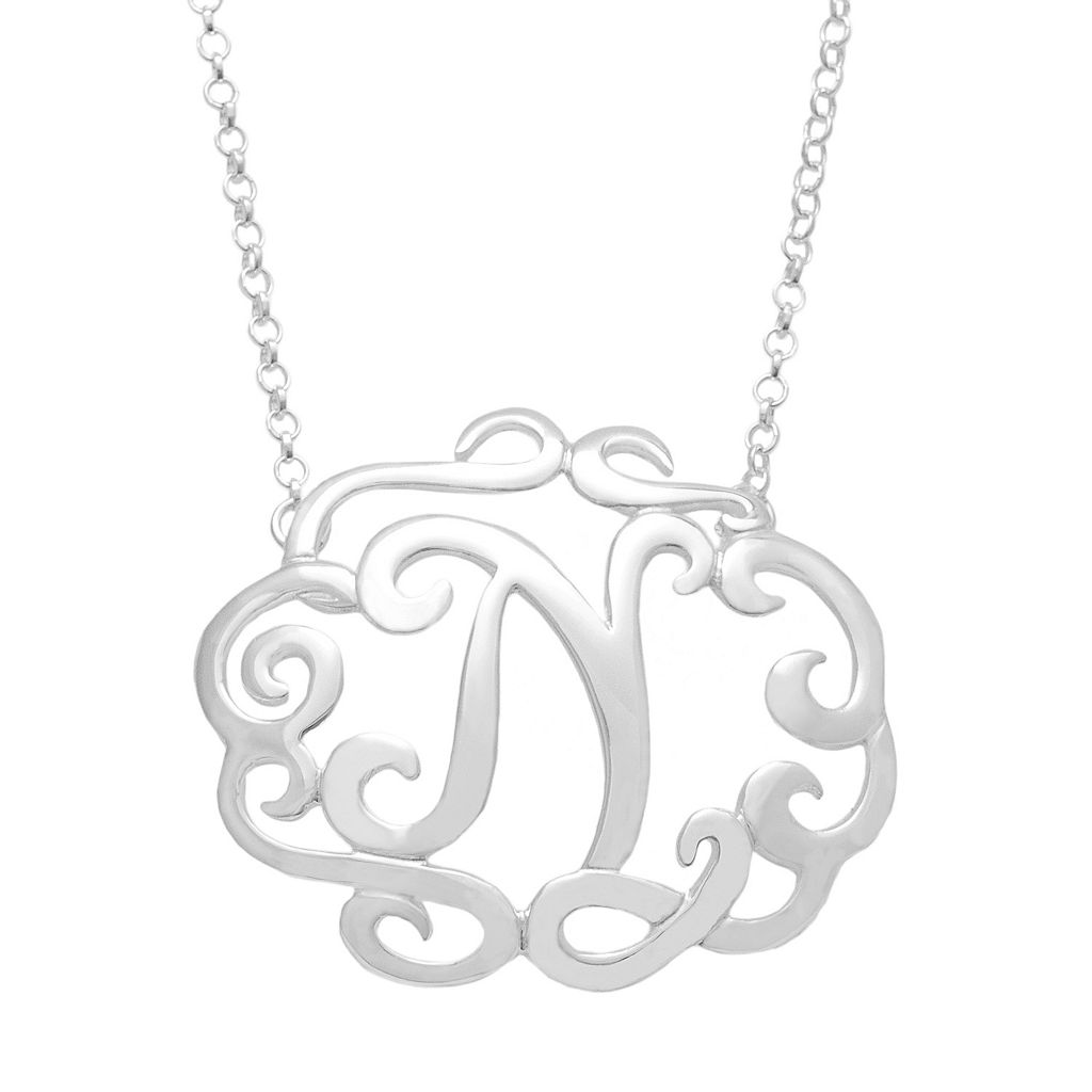 Sterling Silver Scrollwork Initial Necklace