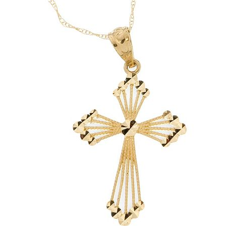 10k Gold Openwork Cross Pendant