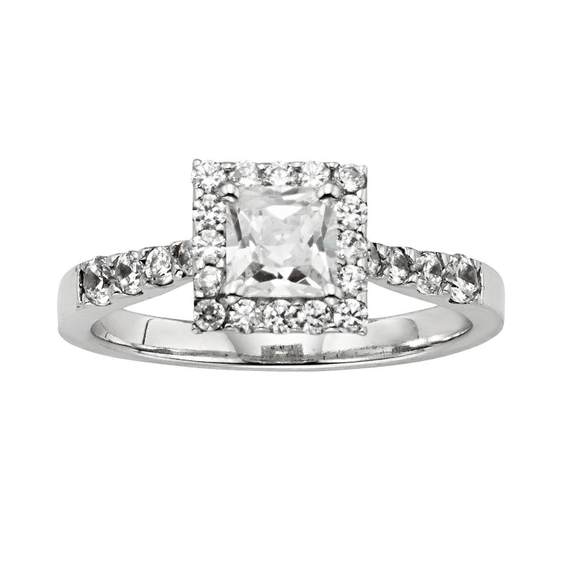Diamonore Princess-Cut Simulated Diamond Halo Engagement Ring in ...