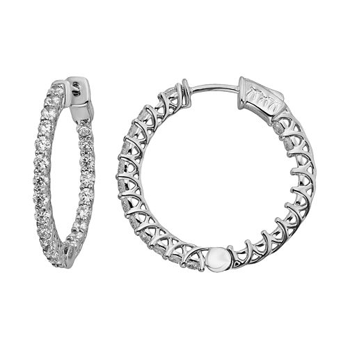 Diamonore Sterling Silver 2-ct. T.W. Simulated Diamond Hoop Earrings