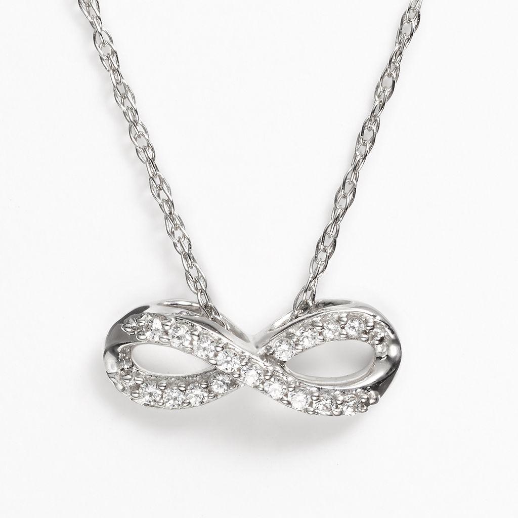 Diamond Petites 10k White Gold 1/10-ct. T.W. Diamond Infinity Pendant