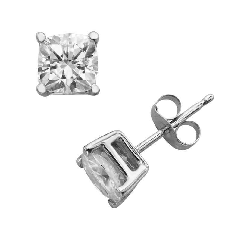 Forever Brilliant 14k White Gold Cushion-Cut 1 3/5-ct. T.W. Lab-Created Moissanite Stud Earrings, Women's
