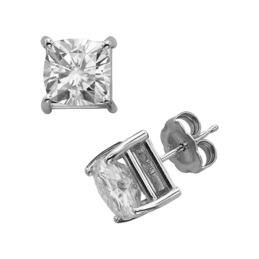 Forever Brilliant 14k White Gold Cushion-Cut 4-ct. T.W. Lab-Created Moissanite Stud Earrings