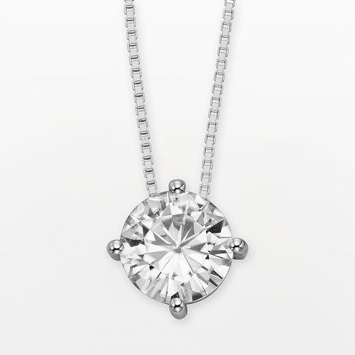 Forever Brilliant 14k White Gold Round-Cut 1 9/10-ct. T.W. Lab-Created Moissanite Pendant