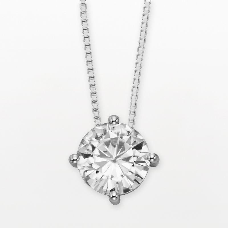 """Forever Brilliant 14k White Gold Round-Cut 1 9/10-ct. T.W. Lab-Created Moissanite Pendant, Women's, Size: 18"""""""
