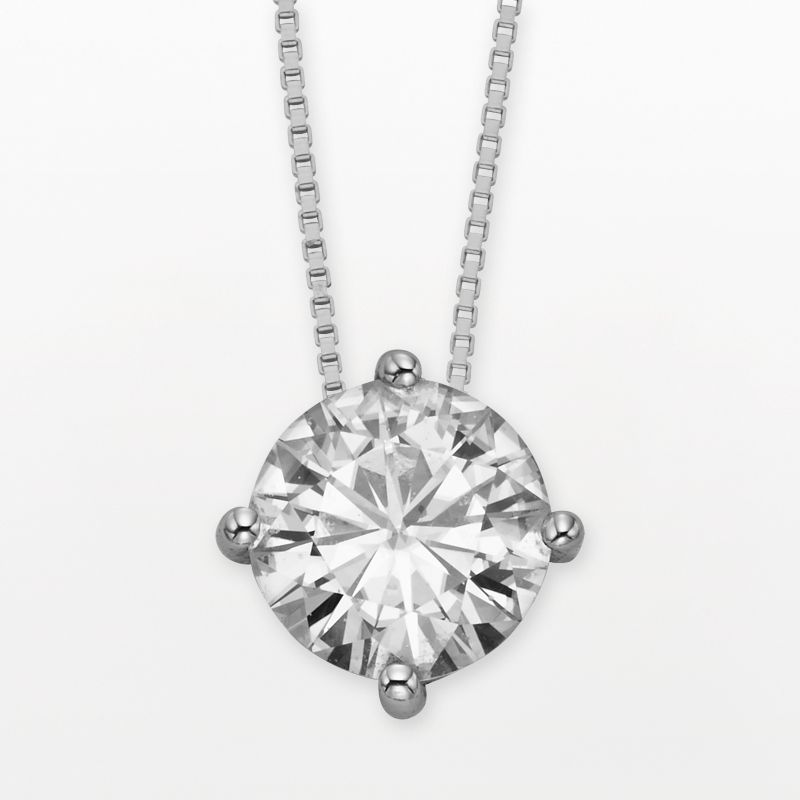 """Forever Brilliant 14k White Gold Round-Cut 3 1/10-ct. T.W. Lab-Created Moissanite Pendant, Women's, Size: 18"""""""
