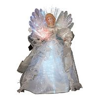Kurt Adler 12-in. LED & Fiber Optic Silver Angel Christmas Tree Topper