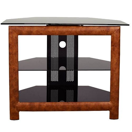 Metal TV Stand with Black Glass