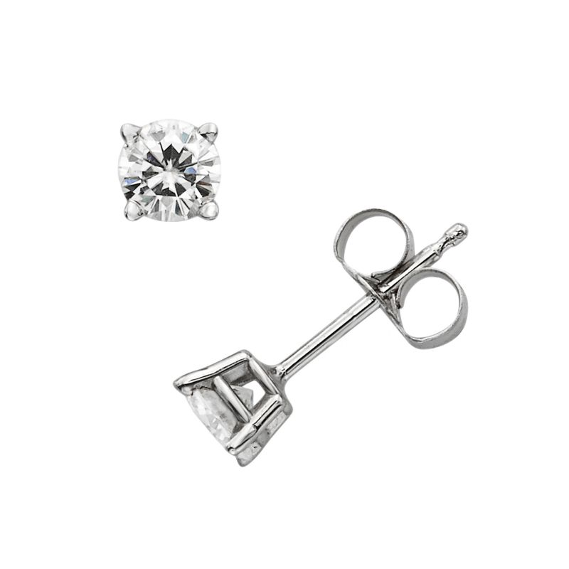 Forever Brilliant 14k White Gold 4/9-ct. T.W. Round-Cut Lab-Created Moissanite Stud Earrings, Women's