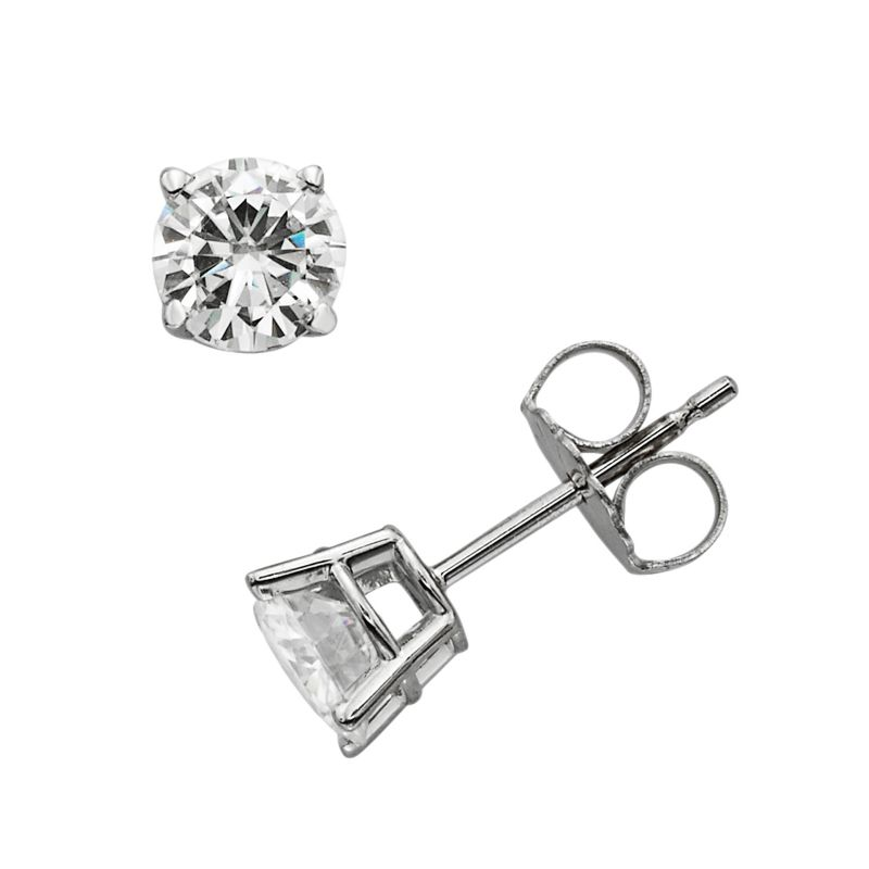 Forever Brilliant 14k White Gold 1-ct. T.W. Round-Cut Lab-Created Moissanite Stud Earrings, Women's