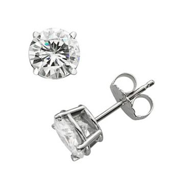 Forever Brilliant 14k White Gold 2-ct. T.W. Round-Cut Lab-Created Moissanite Stud Earrings