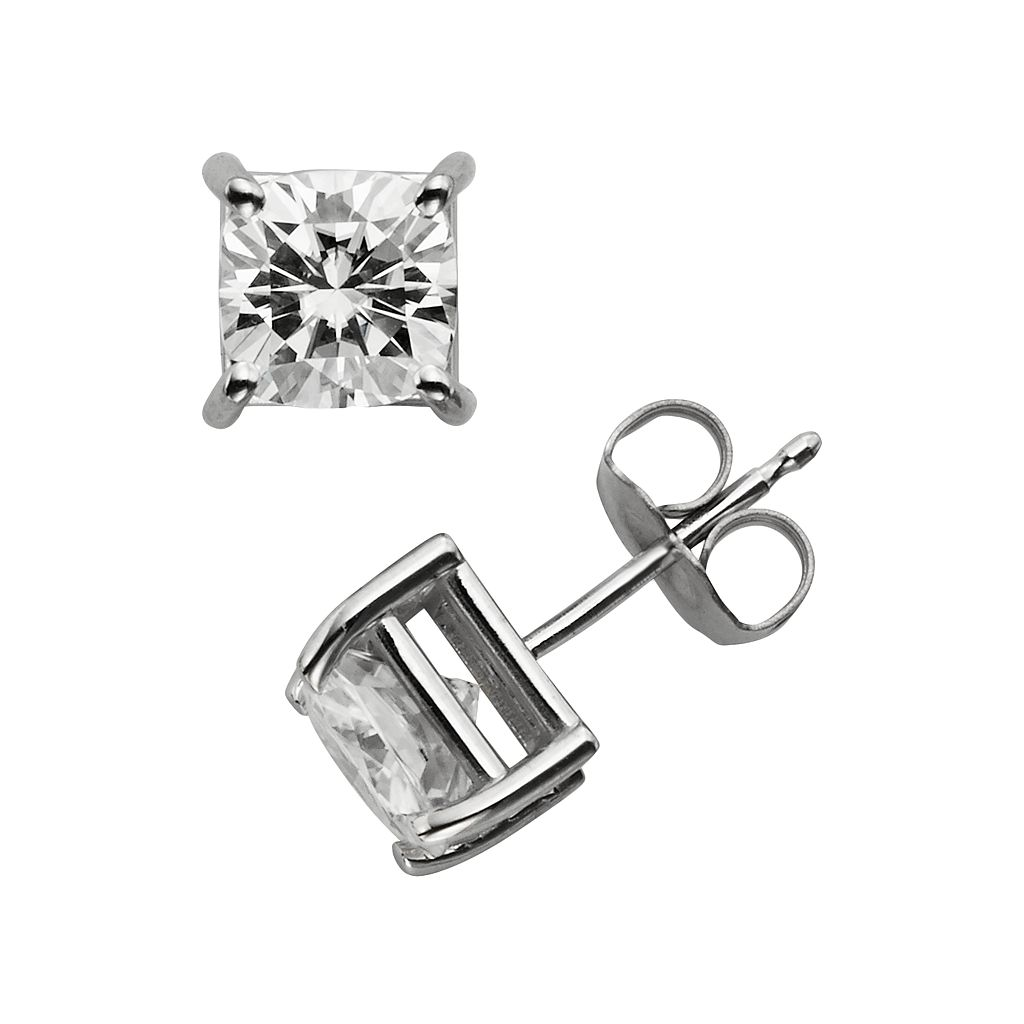 Forever Brilliant 14k White Gold 2 1/5-ct. T.W. Cushion-Cut Lab-Created Moissanite Stud Earrings