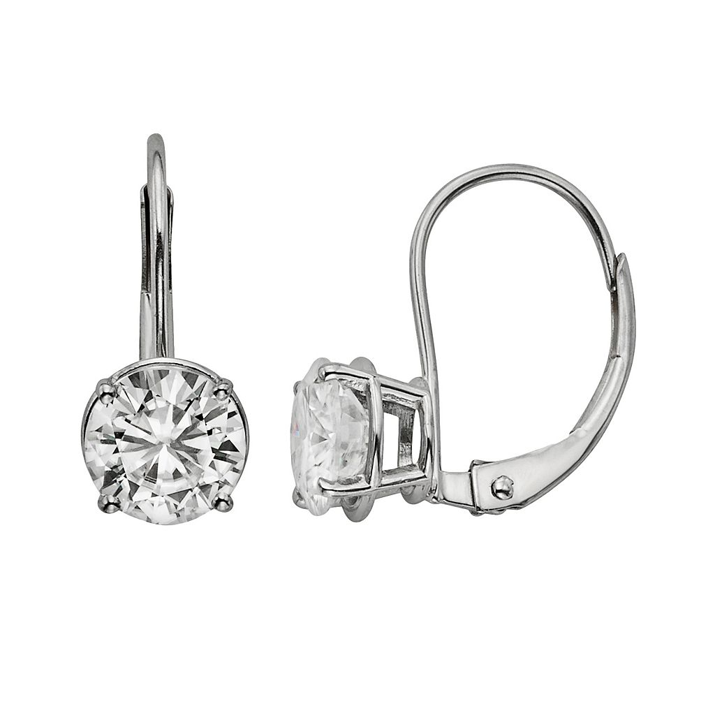 Forever Brilliant 14k White Gold 2-ct. T.W. Round-Cut Lab-Created Moissanite Drop Earrings