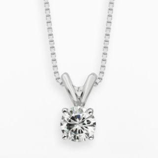 Forever Brilliant 14k White Gold 1/2-ct. T.W. Round-Cut Lab-Created Moissanite Pendant