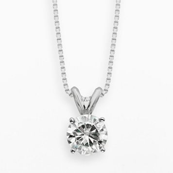 Forever Brilliant 14k White Gold 1-ct. T.W. Round-Cut Lab-Created Moissanite Pendant