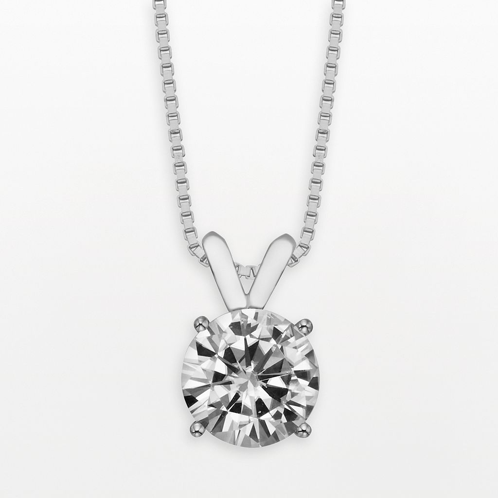 Forever Brilliant 14k White Gold Round-Cut 1 1/2-ct. T.W. Lab-Created Moissanite Pendant