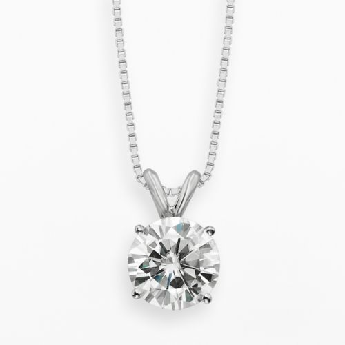 Forever Brilliant 14k White Gold 1 9/10-ct. T.W. Round-Cut Lab-Created Moissanite Pendant