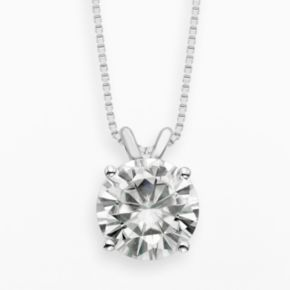 Forever Brilliant 14k White Gold 3 1/10-ct. T.W. Round-Cut Lab-Created Moissanite Pendant