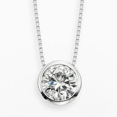 Forever Brilliant 14k White Gold 1 1/2 ctT.W. Round-Cut Lab-Created Moissanite Pendant