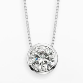 Forever Brilliant 14k White Gold 1 1/2-ct. T.W. Round-Cut Lab-Created Moissanite Pendant