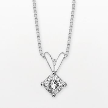 Forever Brilliant 14k White Gold Cushion-Cut 1/2-ct. T.W. Lab-Created Moissanite Pendant