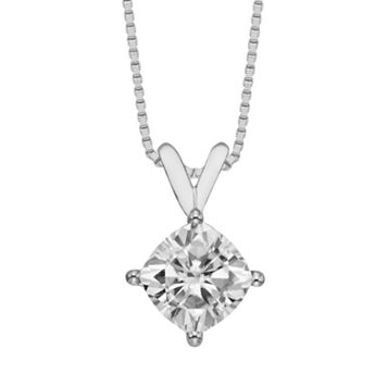 Forever Brilliant 14k White Gold Cushion-Cut 1 7/10-ct. T.W. Lab-Created Moissanite Pendant