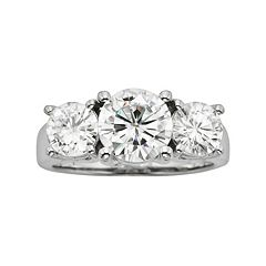 Forever Brilliant Round-Cut Lab-Created Moissanite 3-Stone Engagement Ring in 14k White Gold (2 7/10 ctT.W.)