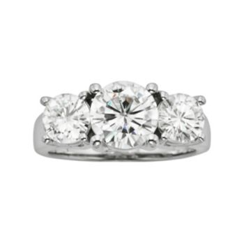 Forever Brilliant Round-Cut Lab-Created Moissanite 3-Stone Engagement Ring in 14k White Gold (2 7/10 ct. T.W.)