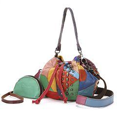 AmeriLeather Qmetal Patchwork Leather Mini Shoulder Bag