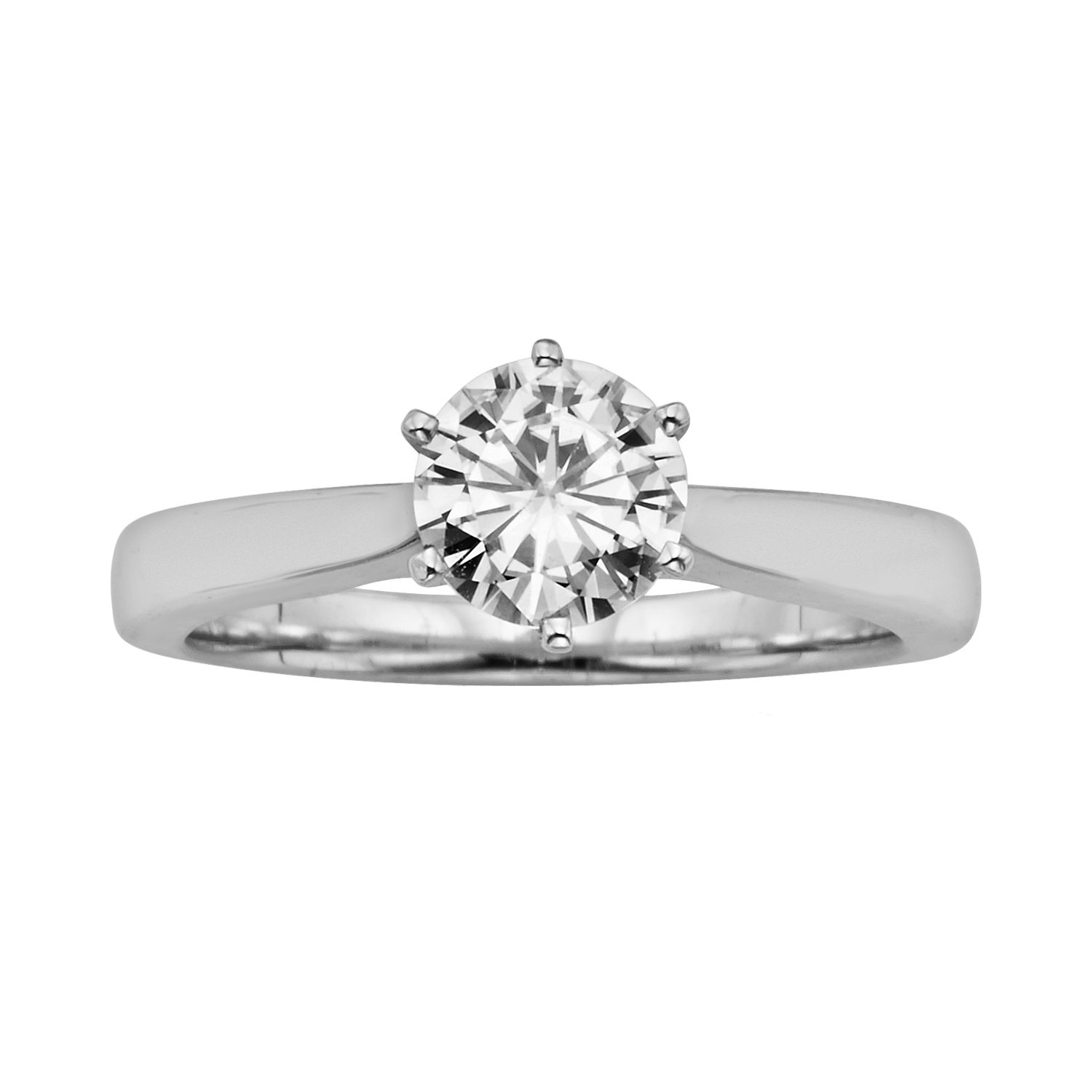 forever brilliant roundcut labcreated moissanite engagement ring in 14k white gold 1 ct tw